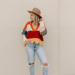 Sweaters - MULTI COLORED STRIPED DISTRESSED SWEATER